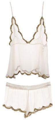 Lace and gold trim nightwear
