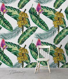 Removable wallpaper Banana Leaves Wallpaper Tropical