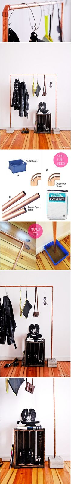 Colgador de ropa con tuberías de cobre  Muy Ingenioso