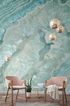 """Want to know what a """"girl cave"""" looks like? This crystal wallpaper and those blush pink armchairs are a match made in heaven! Stunning tones and a myriad of layers in this wall mural have an almost hypnotic effect. Perfect for modern living room spaces lo Crystal Wallpaper, Girl Cave, Room Wallpaper, Wallpaper Murals, Modern Wallpaper, Wallpaper Ideas, Custom Wallpaper, Screen Wallpaper, Decoration Inspiration"""