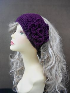 Crochet Headband Headband With Flower by knottycreationsbyET