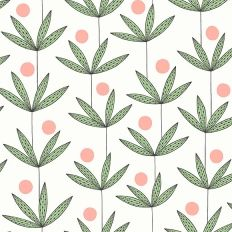 Papier peint - MissPrint - Palm Tree - Blanc, vert et rose