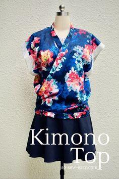 Un top style Kimono, proposé par So-sew-easy . Le patron téléchargeable gratuitement sur Craftsy (s'inscrire sur le site) est disponible de la taille S à XL. Le tutoriel est décomposé sur 4 pages, décrit au pas à pas avec photos. page 1 page 2 page 3...