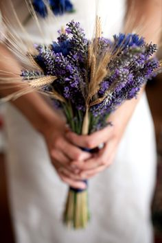DIY wedding bouquet with lavender, wheat and silk cornflowers