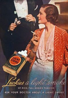 """1936 Lucky Strike Cigarettes """"Ask your doctor! Vintage Advertisements, Vintage Ads, Vintage Prints, Vintage Posters, Vintage Photos, Women Shooting Guns, Famous Ads, Vintage Cigarette Ads, Lucky Ladies"""