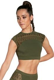 cd745aea43 Cap Sleeve Aztec Mesh Crop Top Mesh Crop Top