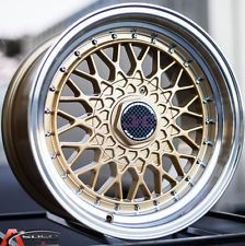15X8 JNC 004 4X100/114.3 +25 GOLD WHEELS FITS CIVIC INTEGRA DEL SO MIATA AE86 XB