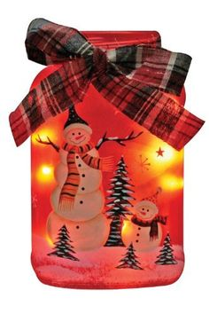 Lighted Christmas Holiday Jar Hand Painted Snowman Frosted Glass Jar with Rice Lights Inside by Banberry Designs, --- http://newwaywebmarketing.com/?p=2499=true