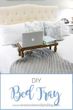 Here's a quick and easy DIY bed tray tutorial that will make you wonder why you haven't made one of these for yourself sooner! Bed Tray Diy, Bed Tray Table, Farmhouse Style Decorating, Decorating Your Home, Diy Home Decor, Farmhouse Decor, Farmhouse Lighting, Vintage Farmhouse, Farmhouse Design