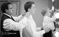 Groom prep with father and son. Three generations wedding photo. LOVE IT!  #exophotography www.exophotography.com