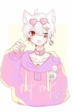 Anime Neko, Kawaii Anime Girl, Manga Kawaii, Kawaii Art, Anime Art, Anime Boys, Anime Cat Boy, Cute Anime Boy, Neko Boy