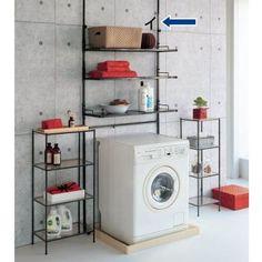 すっきり見える細めの角パイプがクールな印象のランドリーラックです。薄型の突っ張り式なので圧迫感なく洗濯機置き場に設置できます。水回りの収納を楽しくする3色をご用意しました。 Decor, House Styles, Laundry Room, Laundry, Interior, Washing Machine, Home Decor, Organisation Hacks, Home Appliances