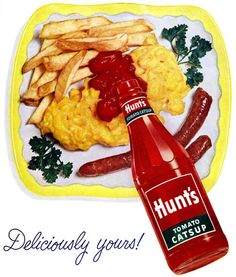 """Description: 1952 HUNT'S CATSUP vintage print advertisement """"Deliciously yours!S: Hunt -- for the best. See your grocer's ads and look in his store for the . Retro Advertising, Vintage Advertisements, Vintage Ads, Vintage Food, Retro Food, Retro Ads, Advertising Signs, Vintage Stuff, Vintage Posters"""