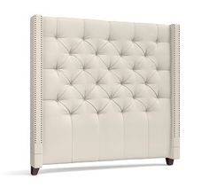 Harper Tufted Upholstered California King Tall Headboard, Washed Linen/Cotton White At Pottery Barn - Furniture - Beds & Headboards Tall Headboard, Tufted Headboards, Queen Headboard, Headboard Ideas, Tufted Bed, Upholstered Beds, Pottery Barn Furniture, Bed Furniture, Furniture Design