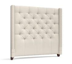Harper Upholstered Tufted Tall Bed & Headboard #potterybarn