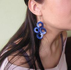 Blue Crochet Earrings Earrings Handcrafted by TaniaNeedleArt, $7.90