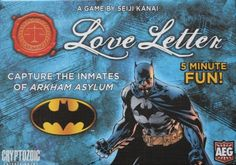 Take back the streets of Gotham City! Love Letter: Batman Edition is a fabulous game of risk, deduction, and luck for players. Help the Dark Knight capture the villains in Gotham City who have escaped Arkham Asylum. Arkham Asylum, Batman Love, Batman 2, Letter Games, Batman Comics, You Draw, Tabletop Games, Family Games, Gotham City