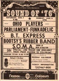 Ohio Players, Nassau Coliseum, Parliament Funkadelic, Main Attraction, Music Posters, Flyers, Fill, Presentation, Memories