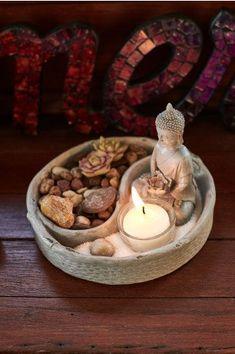 Yin Yang Buddha Zen Garden - Earthbound Trading Co. - Earthbound Trading Co. Meditation Raumdekor, Meditation Room Decor, Smiling Buddha, Zen Bedroom Decor, Zen Home Decor, Garden Bedroom, Buddha Kunst, Thai Buddha, Zen Space