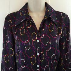 Jones New York Size 10 #Women's Circles Shirt French Cuff #Silk Pleated Back Top