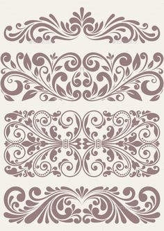 Illustration of vector set vintage ornate border frame filigree with retro ornament pattern in antique baroque style arabic decorative calligraphy design vector art, clipart and stock vectors. Stencils, Damask Stencil, Stencil Art, Wall Stencil Patterns, Stencil Designs, Vintage Borders, Vintage Patterns, Ornaments Design, Scroll Design