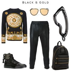 Black & Gold fashion set Clockwise: Baroque print sweater by Versace, '165' sunglasses by Linda Farrow, Arcus carabiner keychain by SVORN, Backpack by Marc by marc jacobs, Sweatpants by Diesel Black Gold, Sneakers by Buscemi