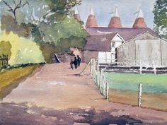 Original Watercolor Painting Farm Yard and by JulianLovegroveArt, £60.00