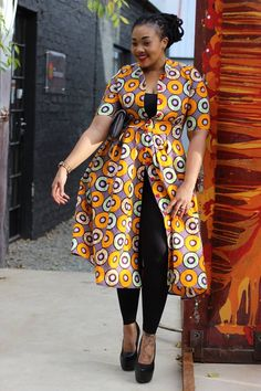 awesome Print Coat Dress – Bow Africa Fashion by http://www.redfashiontrends.us/african-fashion/print-coat-dress-bow-africa-fashion/