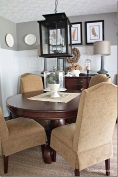 Fall comes easy in the dining room with the dried brownish toned hydrangeas in the soup tureen and a few other touches from Southern Hospitality Blog Dining Room Inspiration, Home Decor Inspiration, Autumn Decorating, Autumn Home, Dining Chairs, Dining Rooms, Home Projects, House Tours, Ideas