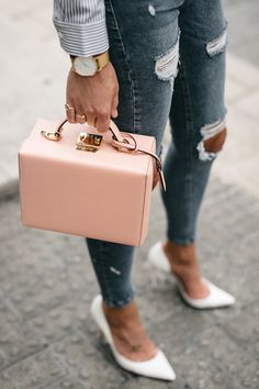 32 Ideas Boots Pink Ripped Jeans For 2019 One Shoulder Ruffle Top, Ripped Jeans Outfit, Handbag Storage, Fashion Jackson, Mark Cross, White Pumps, Cloth Bags, Luxury Bags, Bago