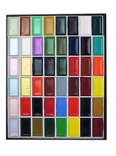 New Kissho Gansai Japanese Watercolor Paint 48 Colors Set From Japan