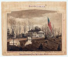 Drawing from the diary of Robert Knox Sneden of Arlington House, the home of Gen. Robert E. Lee, in Arlington, Virginia. The house was used as the headquarters of Union Gen. Heintzelman from Sept. Arlington House, Arlington Virginia, American Civil War, American History, Robert E Lee, War Image, Interesting History, Old West, Historical Society