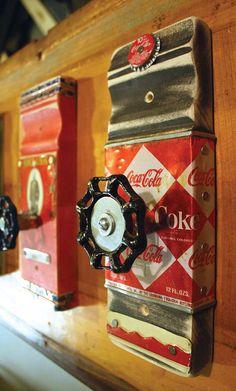 Coat Rack Garden Faucet Handle Hook Coca Cola Can by GadgetSponge
