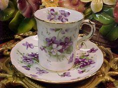 Vintage Hammersley Victorian Violets Bone China Demitasse Cup & Saucer England