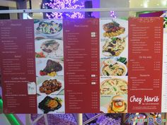 Chez Marie Bar Café and Restaurant: Serving the Best French-Italian and Fusion Cuisine in Cagayan de Oro Rice Desserts, Pizza Sandwich, Restaurants, Menu, Good Things, Bar, Cagayan De Oro, Menu Board Design, Restaurant