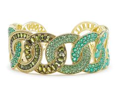 Judith Ripka Delfina Wide Link cuff in 18k gold with tourmalines, emeralds, opaque emeralds, and tsavorites | JCK