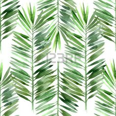watercolor palm tree leaf seamless pattern Stock Vector