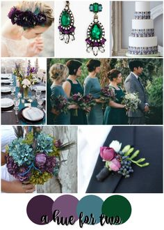 Eggplant Purple, Teal Blue and Emerald Green Wedding Colour Scheme - Jewel Tone…
