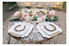 Rustic Table Setting with Old Horse Shoes Equestrian Table Settings