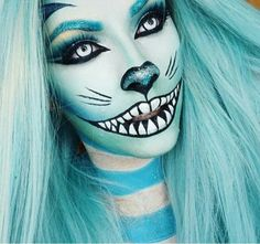 Halloween makeup inspiration. Like a blue Cheshire Cat with a twist. Photo from instagram themakeup_project reposted from @jadedeacon