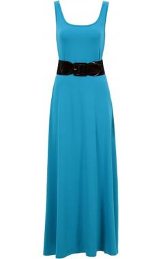 Blue dress black belt