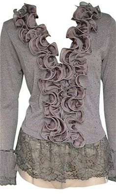 simple sweater, sew on a scarf cut in two...sew lace to bottom and cuffs