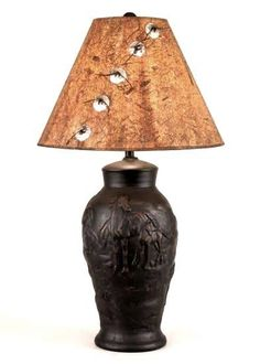 Black Horse Sculpted Pottery Table Lamp with Concho Accented Shade western decor lighting american made in usa coast lamp mfg