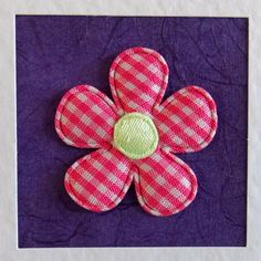 Blank Card, for her, wife, mum, friend, sister, daughter, girlfriend, pink gingham flower, purple, modern, recycled envelope, cute, girlie - pinned by pin4etsy.com