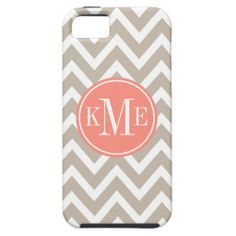Taupe Monogram Chevron Stripe | Apple iPhone 5 iPhone 5 Cover