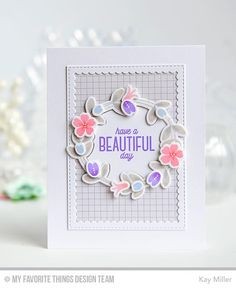 Spring Wreath, Spring Wreath Die-namics, Stitched Rectangle Scallop Frames Die-namics - Kay Miller  #mftstamps