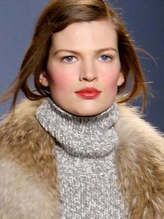 Fall makeup trend: Apres-ski cheeks. Whether your cheeks are flushed from a day at the slopes or a night at the lodge, it doesn't really matter: The illusion of healthy, rosy cheeks is just plain sexy. Stick to cream blushes—they're easier to build up and diffuse, and they tend to have a translucent quality that allows you to see the natural texture of your skin underneath.