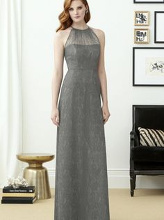 2015 Fall Halter Grey Lace Long Dessy Bridesmaid Dress 2953