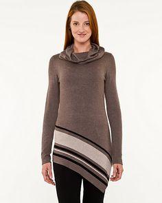 Stripe Asymmetrical Cowl Neck Sweater