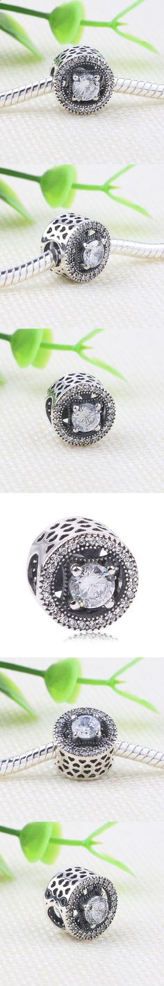 Couqcy Authentic 925 Sterling Silver Bead Charm Openwork Shimmering Medallion With Crystal Beads Fit COC Bracelet Jewelry